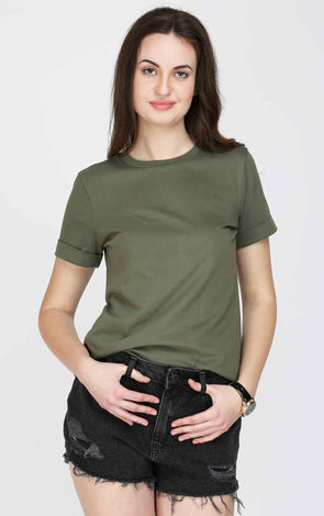 Olive Folded Sleeve T Shirt