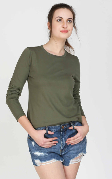 Olive Long Sleeves Women T Shirt