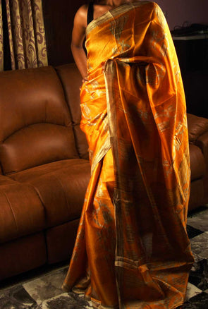 Orange Saree With Gold Stylish Print
