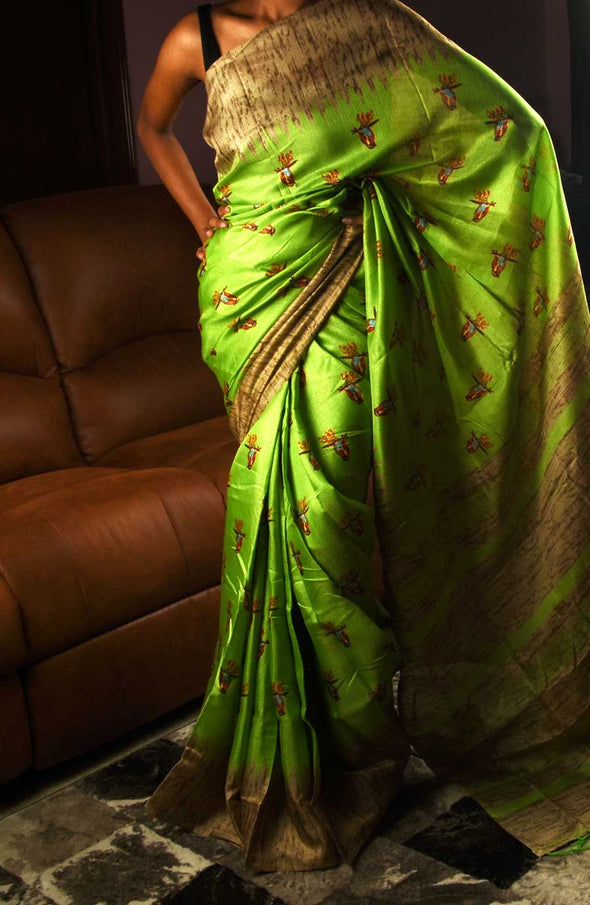 Parrot Green Saree In Bird Print With Gold Border