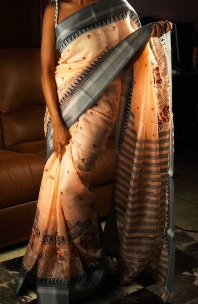 Peach Saree With Grey border In Handloom