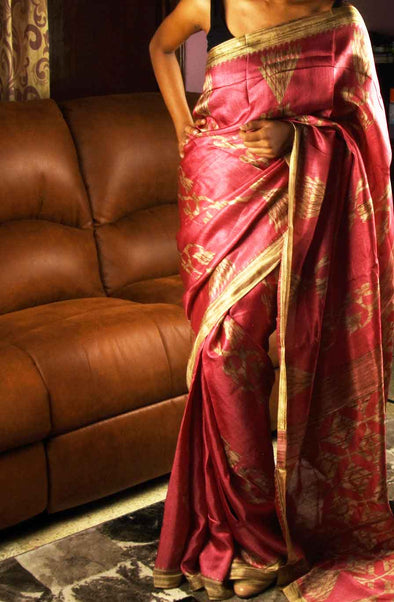 Pink And Golden Handloom Saree