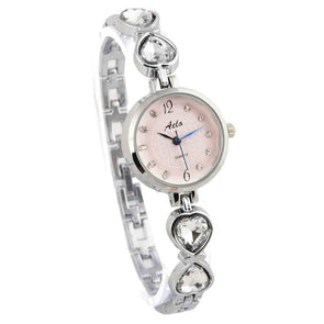 Pink Silver Watch For Women