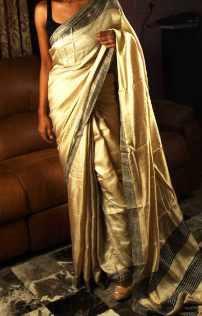 Plain Golden Saree With Black Border
