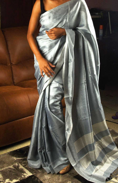 Plain Grey Handloom Saree
