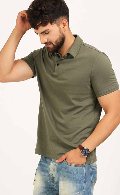 Plain Polo Tee Shirt In Olive