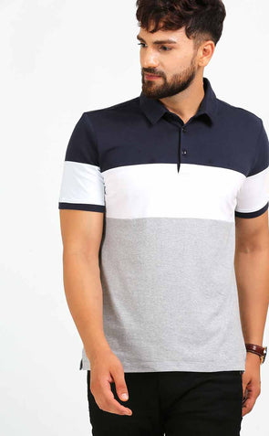Polo Neck Color Block Men's T Shirt