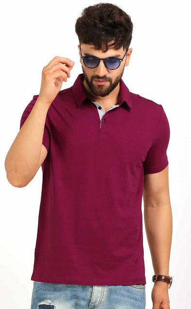 Polo Neck Men's T Shirt In Maroon