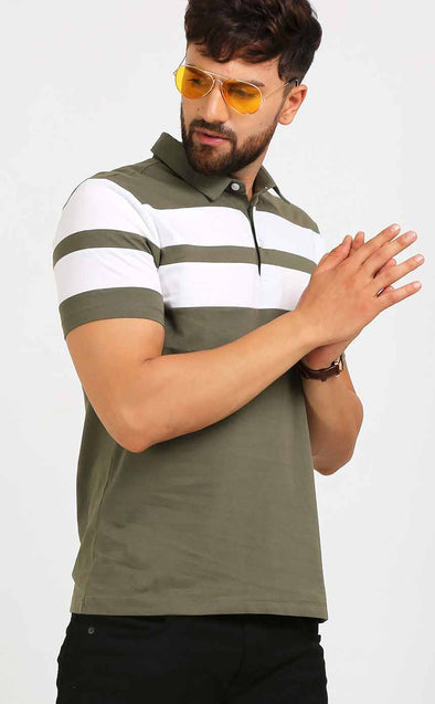 Polo T Shirt For Men With White Stripe