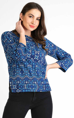 cotton blue full sleeve top for women