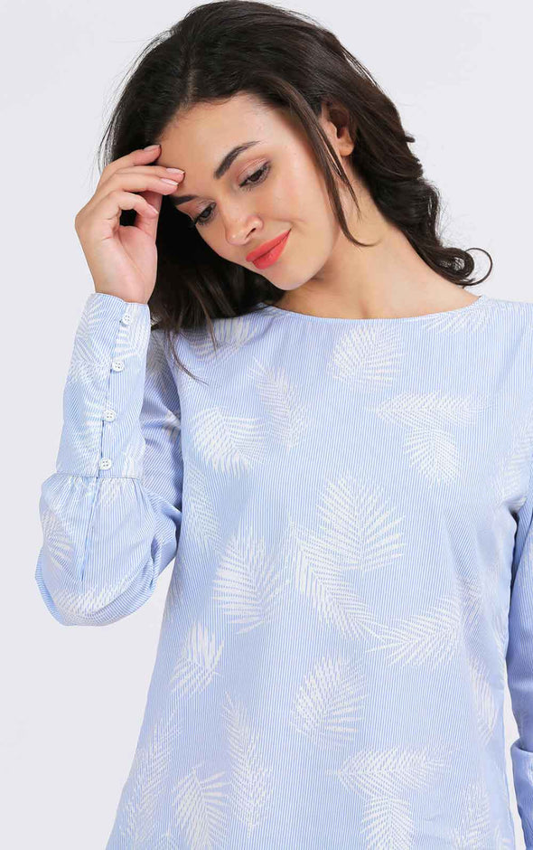 Printed-Leaf-Blue-Full-Sleeve-Women's-Top-Detail-View