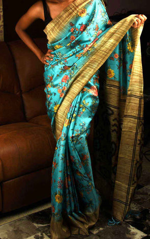 Printed Saree In Blue
