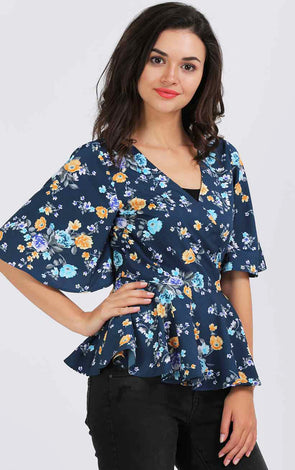 Printed Blue Bell Sleeve Wrap Top