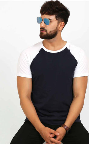 Raglan Navy Blue T Shirt With White Sleeve