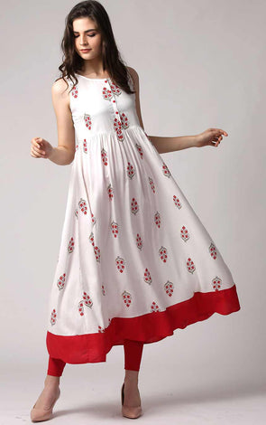 Red And White Anarkali kurta Dress