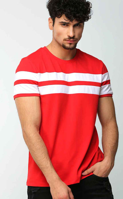 Red With White Stripe T Shirt