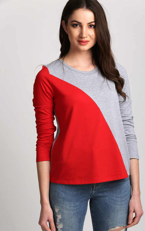 Red and Grey Long Sleeve Women T Shirt