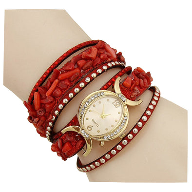 Red Multi Band Wrap Watch