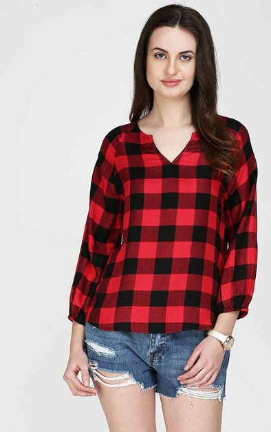 Red Check 34th Sleeve Formal Top