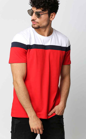 Round Neck Casual Men's T Shirt In Narrow Blue Stripe