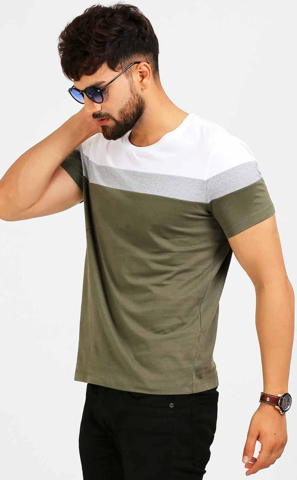 Round-Neck-Casual-Men's-T-Shirt-In-Olive