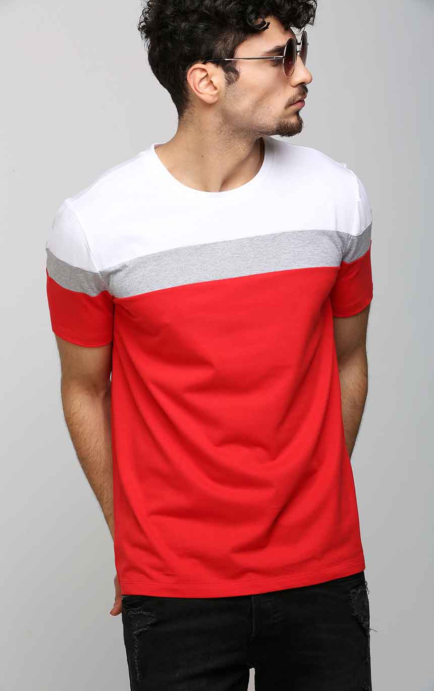 Round Neck Casual Men's T Shirt in Red – AELOMART