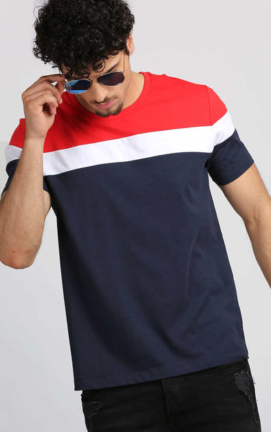 Round-Neck-Casual-T-Shirt-For-Men-In-Navy