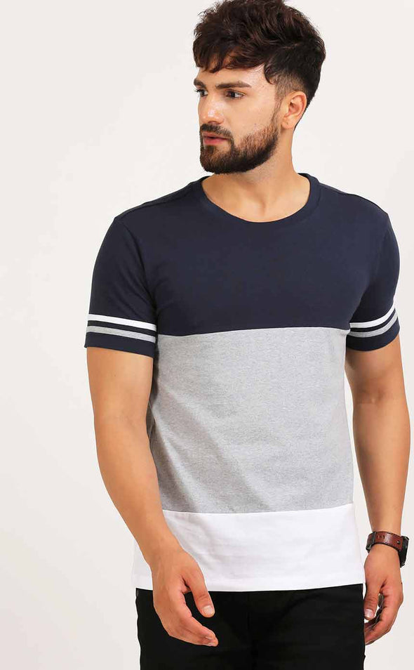 Round Neck Fashion T Shirt In Color block