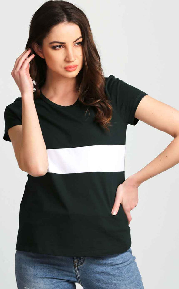Round-Neck-Green-And-White-Women's-T-Shirt