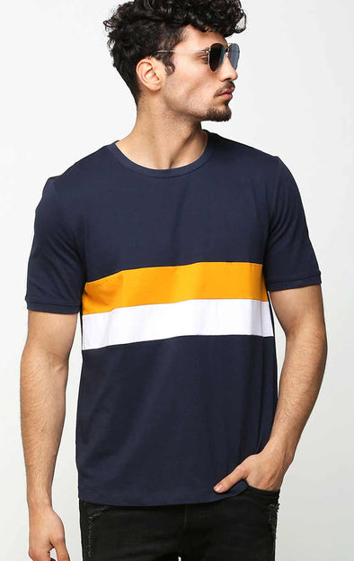 Round Neck Ribbed Sleeve T Shirt