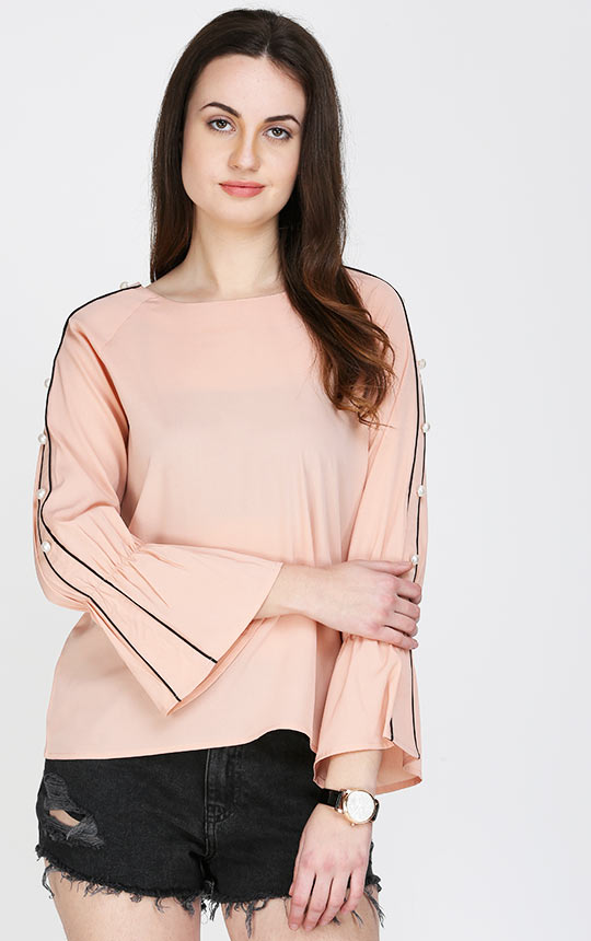 8a2bb079ab3c1 Ruffle Sleeves Pink Top For Women – AELOMART