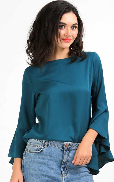 Sea Blue Flute Sleeve Women's Top