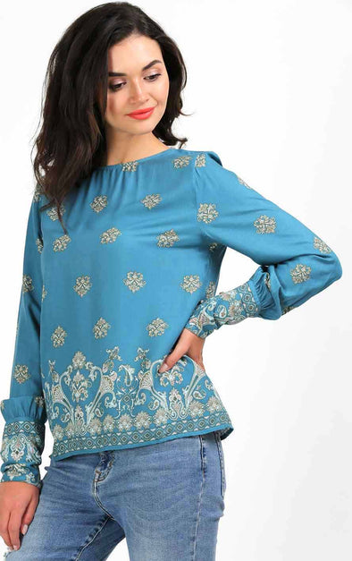 Sea Blue Print Stylish Cuff Top