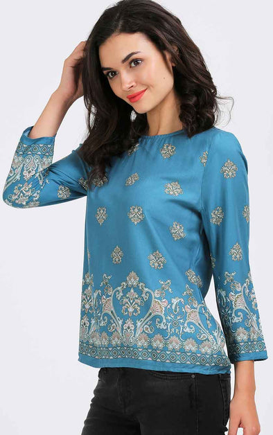 Sea Blue Print Women's Top