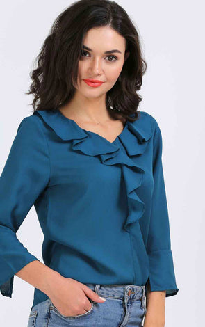Sea Blue Ruffle Women's Top