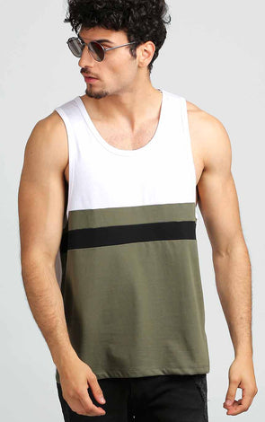 Sleeveless-Gym-Tee-Shirt-In-Olive-And-White