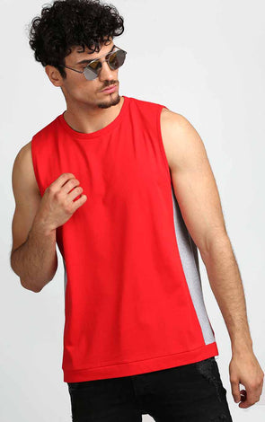 Sleeveless-T-Shirt-In-Red-And-Grey