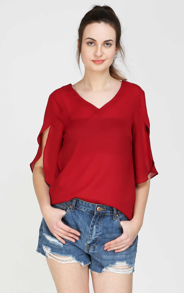 Split Sleeves V Neck Red Top For Women