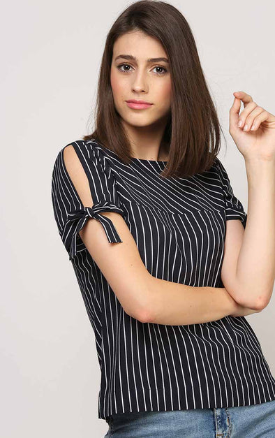 Stripe Blue Sleeve Knot Women's Top