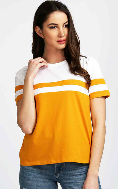 Striped-White-and-Mustard-Women-Trendy-Top