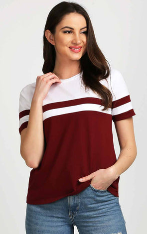 Striped White And Dark Maroon Women Trendy Top
