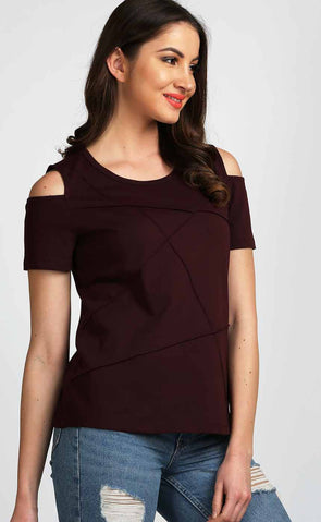 Stylish-Cold-Shoulder-Top-In-Burgundy
