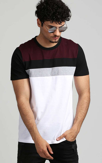 Stylish-Cotton-T-Shirt-In-Colour-Block