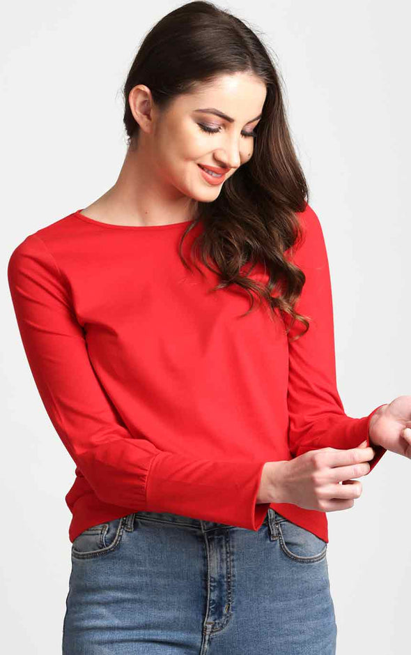 Stylish-Cuff-Full-Sleeve-Red-Top