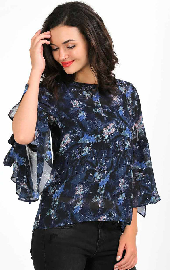 Stylish Blue Printed Shoulder Cut Top