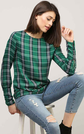 Stylish Cuff Green Check  Women's Top