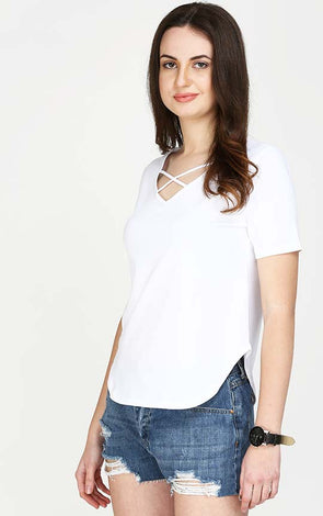 Stylish Neck White T Shirt