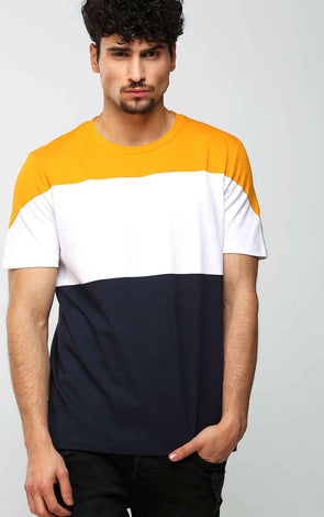 Tricolour-T-Shirt-In-Mustard-White-And-Blue