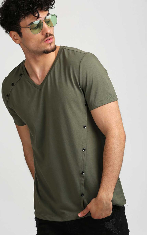 V-Neck-Buttoned-Stylish-T-Shirt-In-Olive