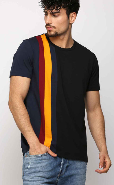 Vertical Striped Half Sleeve Black Stylish T shirt